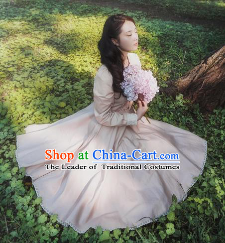 Traditional Classic Elegant Women Costume One-Piece Dress, British Restoring Ancient Princess Sweet Champagne Dress for Women