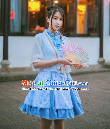 Traditional Classic Chinese Elegant Women Costume One-Piece Sakura Dress, Restoring Ancient Princess Stand Collar Dress for Women