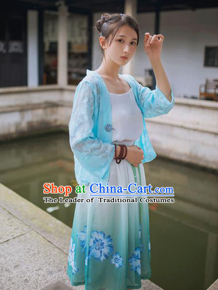 Traditional Classic Chinese Elegant Women Costume Hanfu Smock, Restoring Ancient Han Dynasty Shadow Short Cardigan for Women