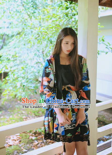 Traditional Japanese Restoring Ancient Kimono Costume Crane Smock, China Modified Short Cardigan for Women