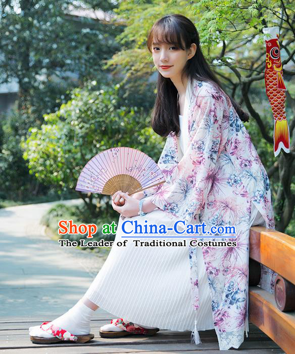 Traditional Japanese Restoring Ancient Kimono Costume Haori Smock, China Kimono Modified Double Side Long Cardigan for Women