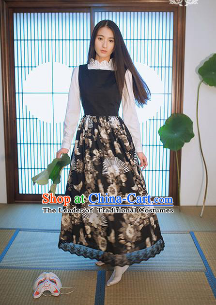 Traditional Japanese Restoring Ancient Kimono Costume One-Piece Dress Crane Sundress, China Kimono Modified Jumper Skirt for Women
