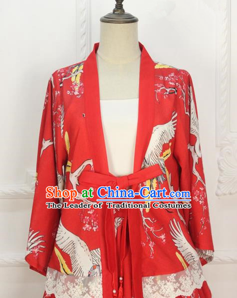 Traditional Japanese Restoring Ancient Kimono Costume Crane Smock, China Red Modified Short Cardigan Jacket for Women
