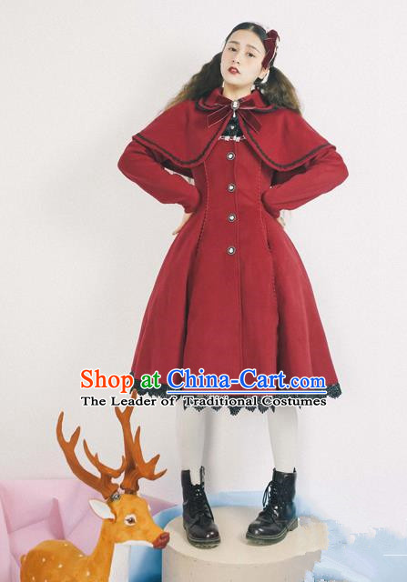 Traditional Classic Elegant Women Costume Complete Set Woolen Cloak Dust Coat, Restoring Ancient Wool Cape  Coat for Women