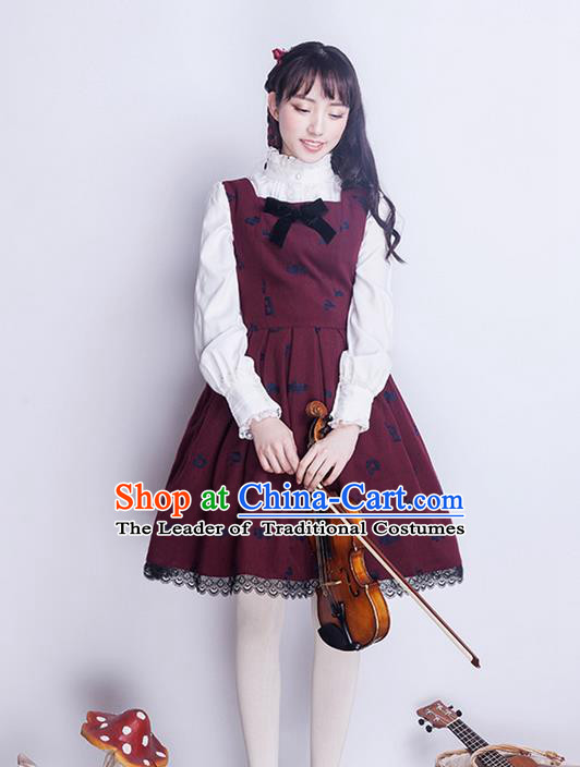 Traditional Classic Elegant Women Costume Woolen One-Piece Skirt, Restoring Ancient Wool Embroidered Dress for Women