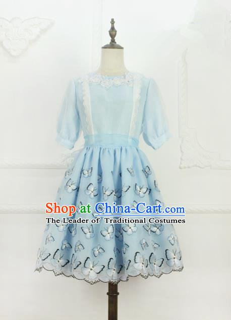 Traditional Classic Elegant Women Costume Organza One-Piece Dress, Restoring Ancient Embroidered Bubble Dress for Women