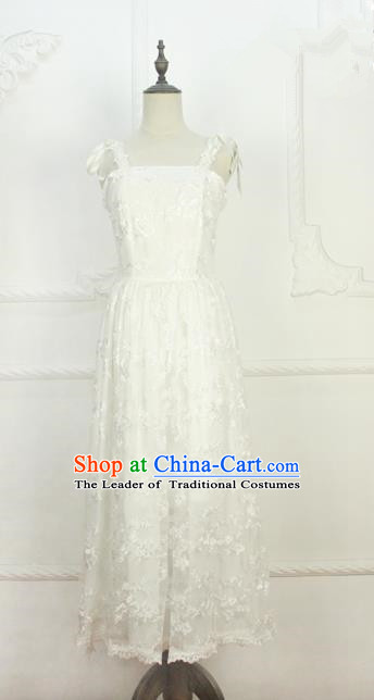 Traditional Classic Elegant Women Costume One-Piece Dress, Restoring Ancient Embroidered Lace Full Dress for Women