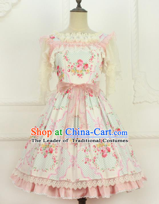 Traditional Classic Elegant Women Costume One-Piece Dress Braces Skirt, Restoring Ancient Sweet Dress for Women