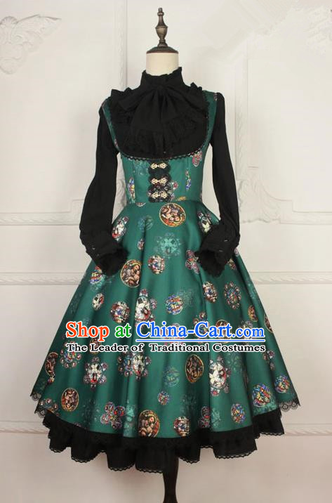 Traditional Classic Elegant Women Costume One-Piece Dress, Restoring Ancient Princess Gothic Joe Chest Giant Swing Sweet Dress for Women