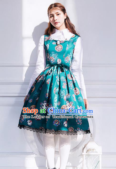 Traditional Classic Elegant Women Costume One-Piece Dress, Restoring Ancient Princess Gothic Giant Swing Pleated Dress for Women