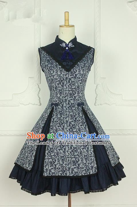 Traditional Classic Chinese Elegant Women Costume Blue and White Porcelain One-Piece Dress, Chinese Cheongsam Restoring Ancient Princess Plate Buttons Stand Collar Dress for Women