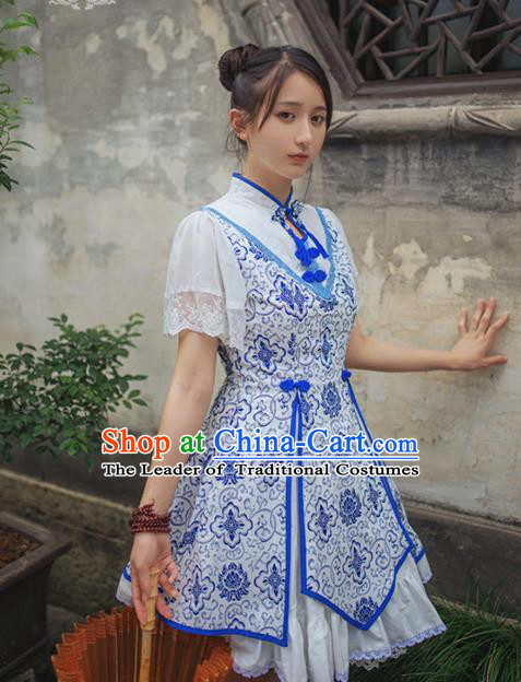 Traditional Chinese Costume Smock China Hanfu BeiZi Modified Long Dress for Women