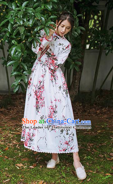 Traditional Classic Chinese Elegant Women Costume Plate Buckles One-Piece Dress, Chinese Cheongsam Restoring Ancient Princess Ink Plum Blossom Dress for Women