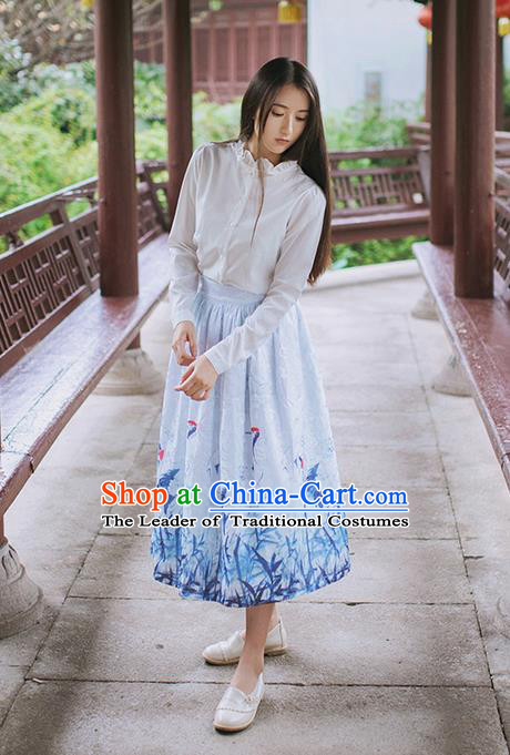 Traditional Classic Chinese Elegant Women Costume Han Dynasty Crane Dress, Chinese Hanfu Restoring Ancient Princess Dark Fringe Bust Skirt for Women