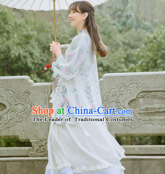 Traditional Classic Chinese Elegant Women Costume Hanfu Smock, Restoring Ancient Han Dynasty Shadow Long Cardigan for Women
