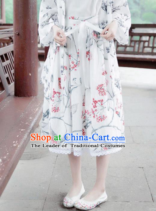 Traditional Classic Chinese Elegant Women Costume Han Dynasty Plum Dress, Chinese Hanfu Restoring Ancient Princess Ink Painting Bust Skirt for Women