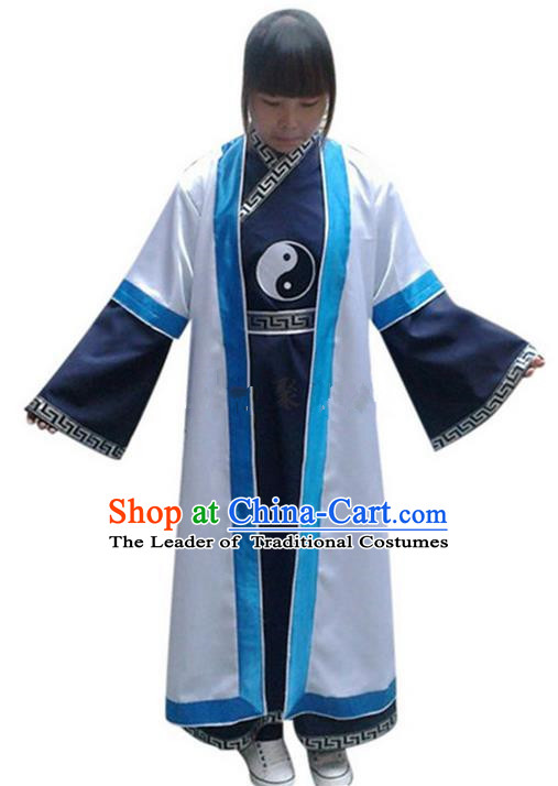 Traditional Chinese Wudang Silk Uniform Taoist Nun Uniform Yin Yang Priest Frock Kungfu Kung Fu Clothing Clothes Martial Pants Shirt Supplies Wu Gong Outfits, Chinese Short-Sleeve Tang Suit Wushu Clothing Tai Chi Suits Uniforms for Women