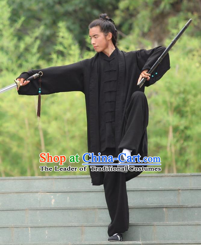 Traditional Chinese Wudang Uniform Taoist Uniform Linen Slant Opening Priest Frock Complete Set Kungfu Kung Fu Clothing Clothes Pants Slant Opening Shirt Supplies Wu Gong Outfits, Chinese Tang Suit Wushu Clothing Tai Chi Suits Uniforms for Men