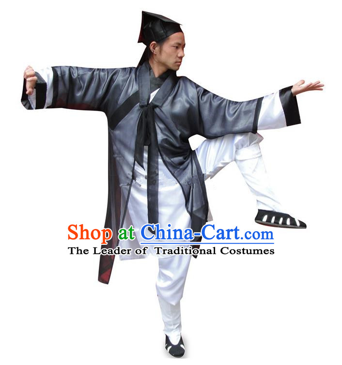 Traditional Chinese Wudang Uniform Taoist Long Robe Uniform Linen Priest Frock Kung Fu Clothing Complete Set for Men