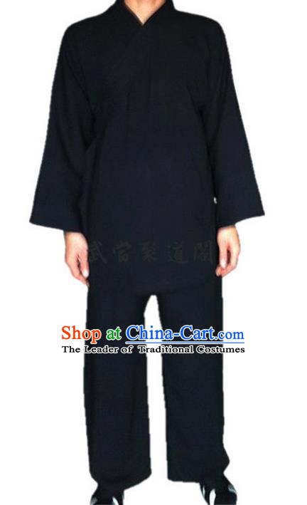Traditional Chinese Wudang Uniform Taoist Uniform Cotton Priest Frock Complete Set Kungfu Kung Fu Clothing Clothes Pants Slant Opening Shirt Supplies Wu Gong Outfits, Chinese Tang Suit Wushu Clothing Tai Chi Suits Uniforms for Men