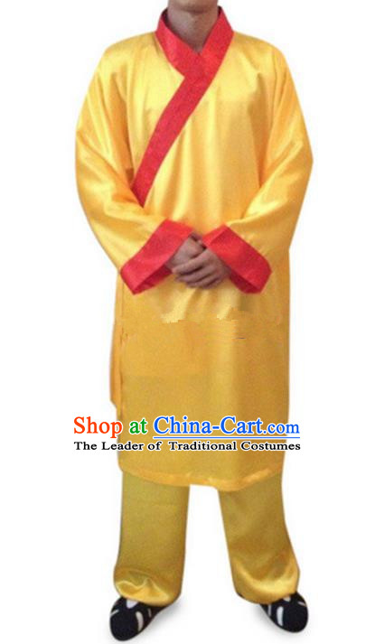 Traditional Chinese Wudang Uniform Taoist Uniform Priest Frock Complete Set Long Robe Kungfu Kung Fu Clothing Clothes Pants Slant Opening Shirt Supplies Wu Gong Outfits, Chinese Tang Suit Wushu Clothing Tai Chi Suits Uniforms for Men