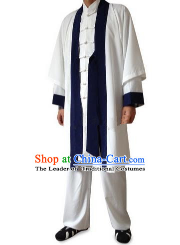 Traditional Chinese Wudang Uniform Taoist Linen Uniform Long Robe Complete Set Kungfu Kung Fu Clothing Clothes Pants Shirt Supplies Wu Gong Outfits, Chinese Tang Suit Wushu Clothing Tai Chi Suits Uniforms for Men
