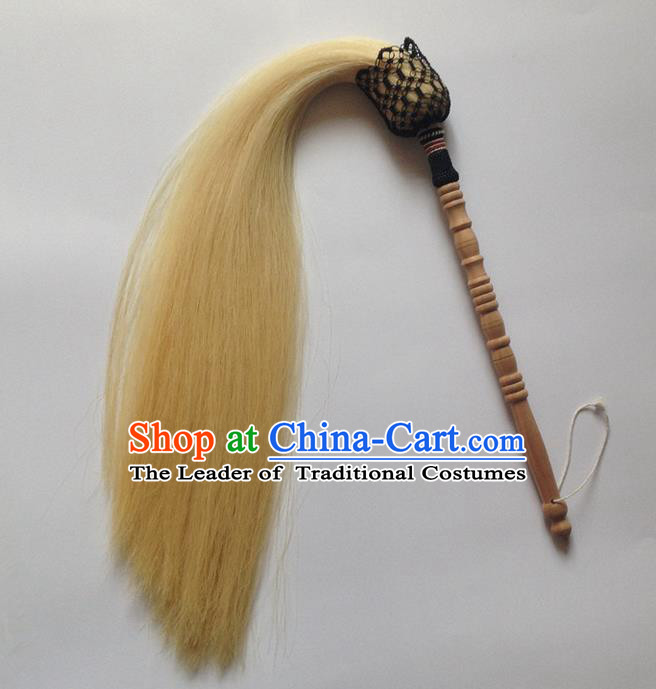 Traditional Chinese Wudang Taoist Supplies Tai Chi Whiskers Really Horsetail Wood Whisk Tai Chi Whiskers for Men
