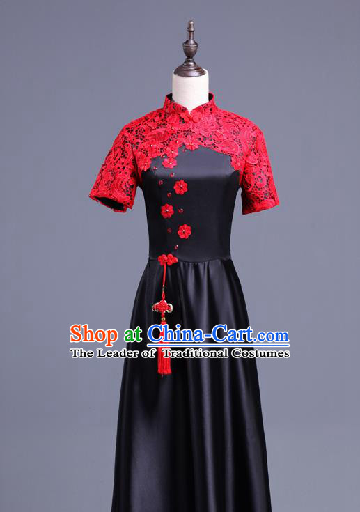 Traditional Chinese Classical Ink Painting Yangko Dance Cheongsam Dress, Yangge Fan Dancing Costume Chorus Suits, Folk Dance Yangko Costume for Women