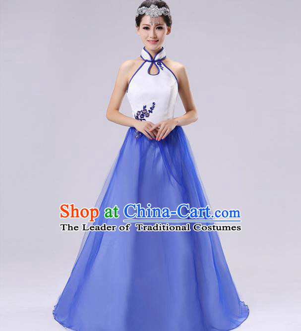 Traditional Chinese Classical Blue and White Porcelain Modern Dance Cheongsam Dress, Yangge Fan Dancing Costume Chorus Suits, Folk Dance Yangko Costume for Women