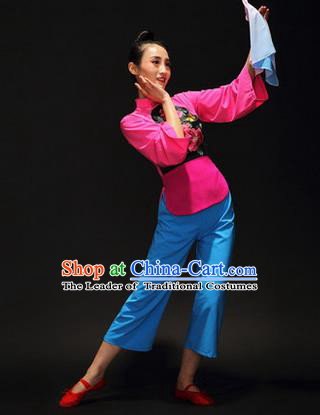 Traditional Chinese Classical Yangko Drama Dance Dress, Yangge Fan Dancing Costume Umbrella Dance Suits, Folk Dance Yangko Costume for Women