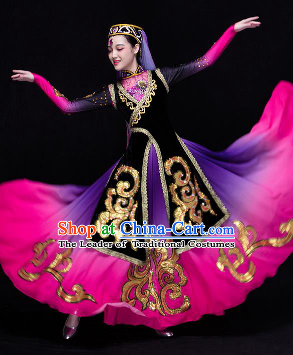 Traditional Chinese Uyghur Nationality Dancing Costume, Folk Dance Ethnic Costume, Chinese Xinjiang Uyghur Minority Nationality Dancing Costume for Women