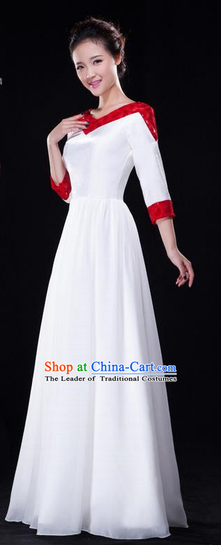 Traditional Chinese Classical Modern Dance Dress, Yangge Fan Dancing Costume Lace Chorus Suits, Folk Dance Yangko Costume for Women