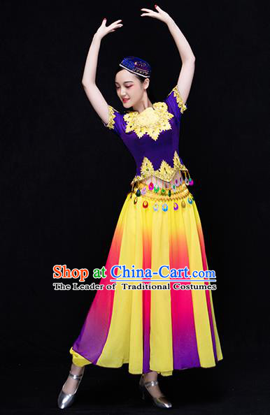 Traditional Chinese Uyghur Nationality Dancing Costume, Folk Dance Ethnic Costume, Chinese Uyghur Minority Nationality Dancing Costume for Women