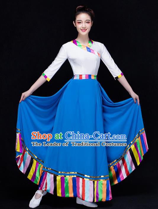 Traditional Chinese Zang Nationality Dancing Costume, Folk Dance Ethnic Costume, Chinese Tibetan Minority Nationality Dancing Costume for Women