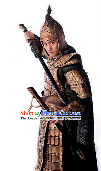 Traditional Chinese Ancient General Costumes, Ancient Chinese Cosplay General Swordsmen Knight General Costume Armour Complete Set for Men
