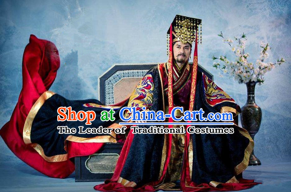 Traditional Chinese Ancient Dragon Emperor Men King Costumes, Chinese Emperor Clothes and Hat Complete Set for Men