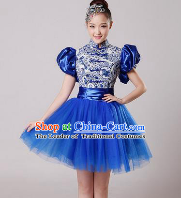 Traditional Chinese Classical Modern Dance Blue and White Porcelain Dress, Yangge Fan Dancing Costume Umbrella Dance Suits, Folk Dance Yangko Costume for Women