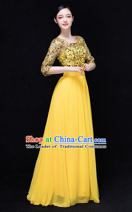 Traditional Chinese Classic Stage Performance Chorus Singing Group Dance Costumes, Chorus Competition Costume, Compere Costumes for Women