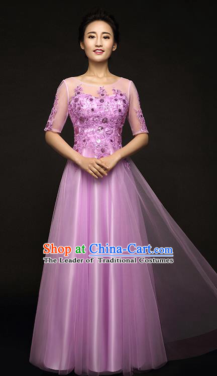 Traditional Chinese Classic Stage Performance Chorus Singing Group Lace Dress Modern Waltz Dance Costumes, Chorus Competition Costume, Compere Costumes for Women