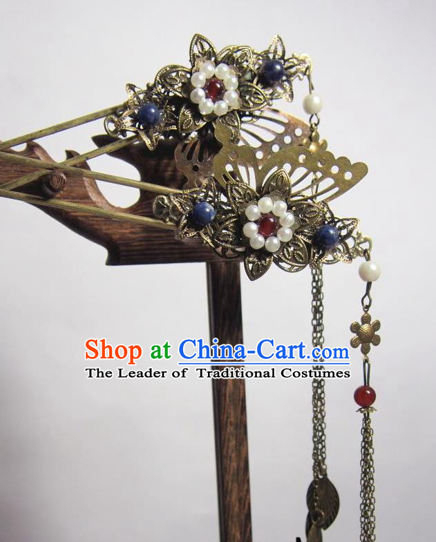 Traditional Chinese Ancient Jewelry Accessories, Ancient Chinese Imperial Princess Wedding Long Tassels Hair Step Shake, China Wedding Bride Hairpin for Women