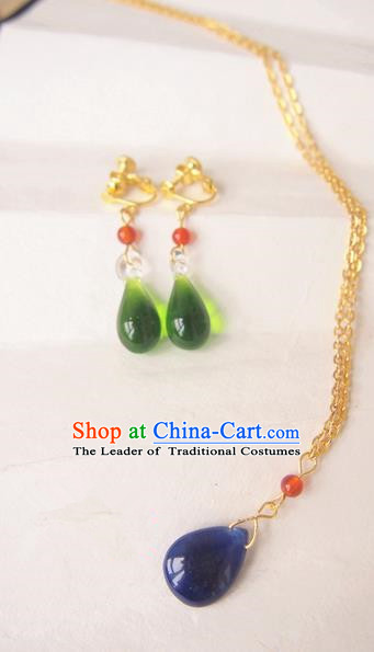 Traditional Chinese Ancient Jewelry Accessories, Ancient Chinese Imperial Princess Necklace and Earrings Complete Set for Women