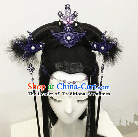 Traditional Chinese Ancient Jewelry Accessories, Ancient Chinese Imperial Princess Headwear Wedding Long Tassels Step Shake Hair Tuinga, China Wedding Bride Hairpin for Women