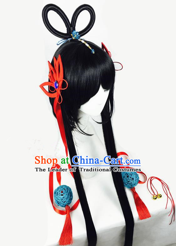 Traditional Chinese Ancient Jewelry Accessories, Ancient Chinese Imperial Princess Hairpin Hair Accessories and Wigs Complete Set for Women