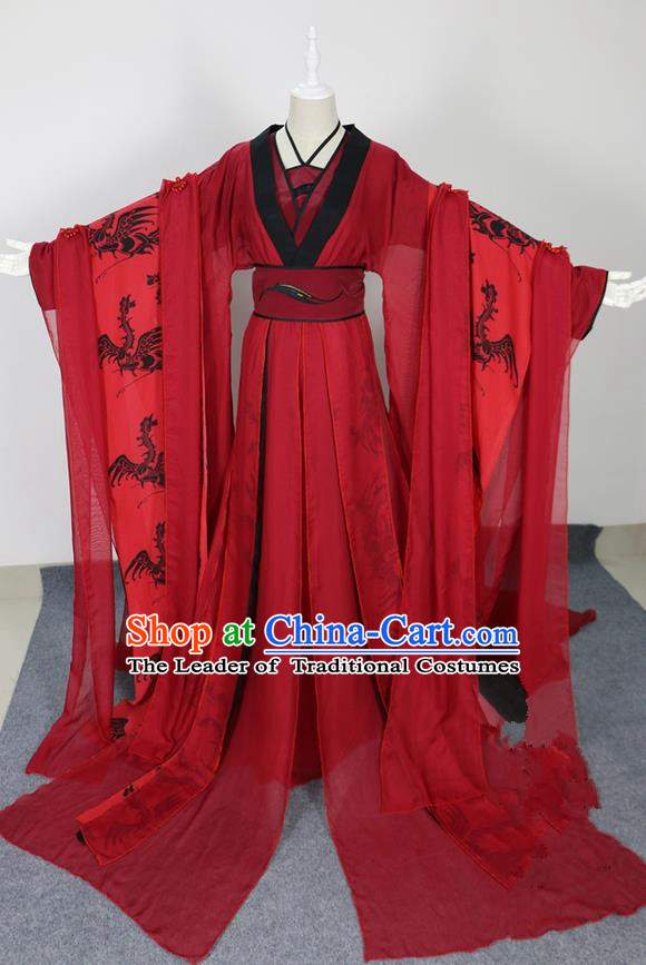 Traditional Chinese Ancient Princess Red Costumes, Chinese Tang Dynasty Imperial Princess Wedding Beide Embroidery Clothes Complete Set for Women