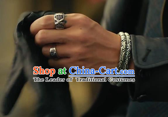 Traditional Chinese Ancient Jewelry Accessories, Ancient Chinese Ring and Bracelet Complete Set for Men