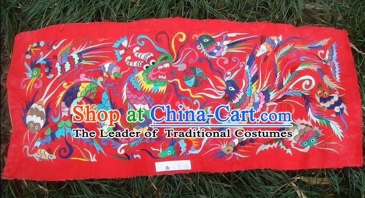 Traditional Chinese Miao Nationality Classic Hand Made Embroidery Flake-Dragon and Phoenix