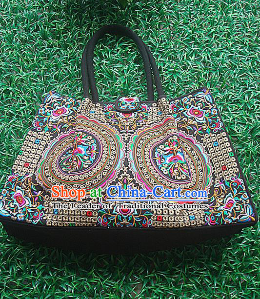 Traditional Chinese Miao Nationality Palace Handmade Double-Sided Embroidery Handbag Hmong Handmade Embroidery Canvas Bags for Women