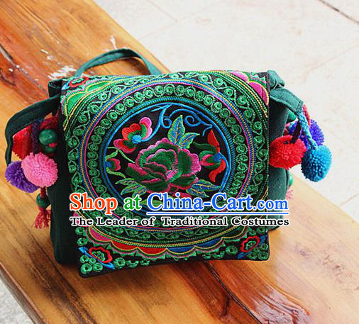 Traditional Chinese Miao Nationality Palace Handmade Single-Sided Embroidery Peony Handbag Hmong Handmade Embroidery Canvas Messenger Bags for Women