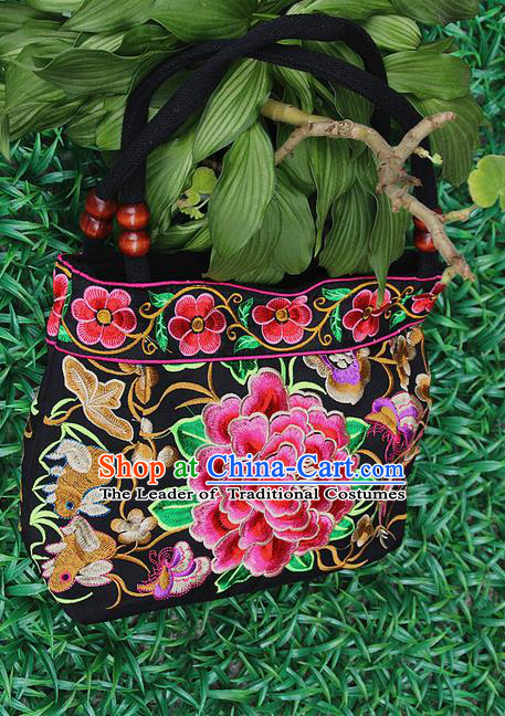Traditional Chinese Miao Nationality Palace Handmade Double-Sided Embroidery Peony Handbag Hmong Handmade Embroidery Canvas Single Shoulder Bags for Women