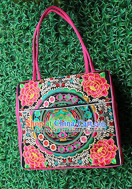 Traditional Chinese Miao Nationality Palace Handmade Single-Sided Embroidery Peony Handbag Hmong Handmade Embroidery Canvas Single Shoulder Bags for Women